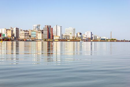 Buildings in Porto Alegre city and Guaiba river, Rio Grande do Sul, Brazil
