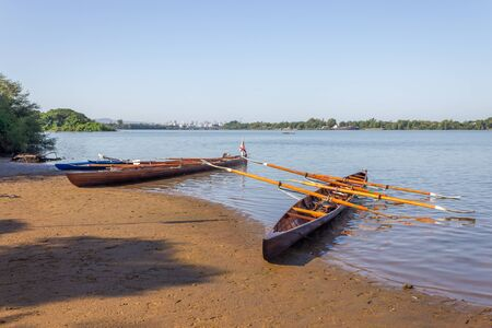 Boats in Guaiba river in Porto Alegre, Rio Grande do Sul, Brazil