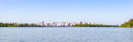 Panorama with Buildings in Porto Alegre city and Guaiba river, Rio Grande do Sul, Brazil