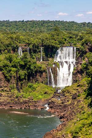 Forest, waterfalls and river with rocks, Foz do Iguaçu, Parana, Brazil