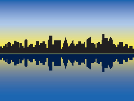 uptown: A silhouette of a generic city skyline reflected in water at sunrise.