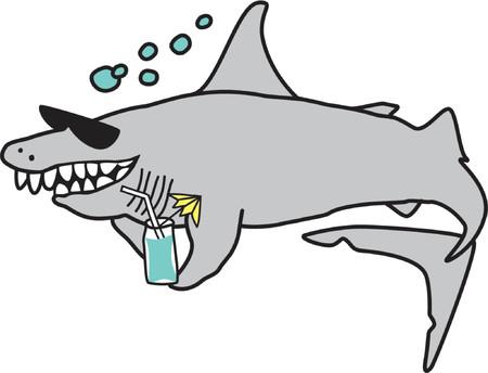 flipper: Le dessin d'un requin heureux de porter des lunettes de soleil et de la tenue d'un cocktail. Original cartoon converti en dessin vectoriel.  Illustration