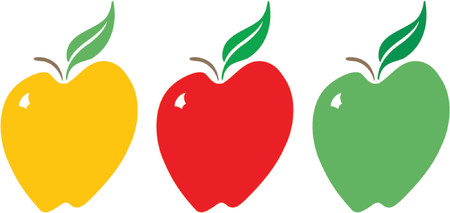 Illustration of a stylized apple in three colors -- yellow, red and green.