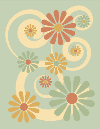 florid: A floral design with spirals, reminiscent of 1960s and 1970s pop art. Illustration
