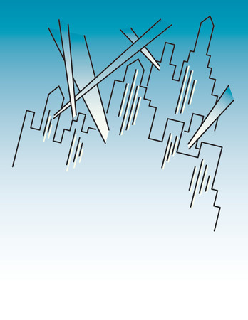 A line illustration of a city at night, with klieg lights shining, in a retro 1920s art deco style. Letter-size page with space below for copy.