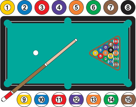 A graphic illustration of a pool table, complete with billiard balls, cue stick and rack. Balls are individually grouped to use separately, if needed. Illustration