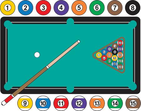 Une illustration graphique d'une table de billard, avec des boules de billard, cue bâton et rack. Balls individuellement sont regroupés pour utiliser séparément, si nécessaire.