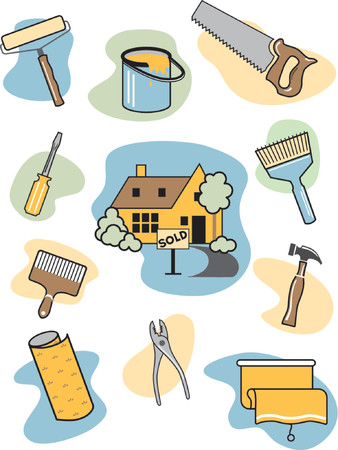 A collection of home improvement icons surrounding an upgraded home which has a