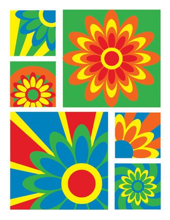 useful: Six brightly-colored floral designs useful for logos, icons or backgrounds.