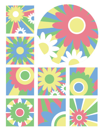 Nine fresh floral designs in exciting colors useful for logos, icons or backgrounds. Vector