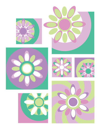 Six retro floral designs useful for logos, icons or backgrounds. Vector