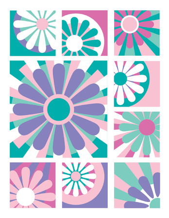 A collection of nine flower designs in pastel colors useful for logos, icons or backgrounds. Vector
