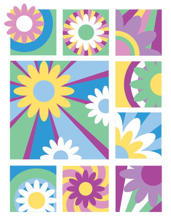 A collection of nine flower designs in bold colors useful for logos, icons or backgrounds. Vector