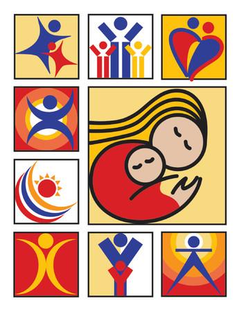 Negen gestileerde afbeeldingen van mensen, bruikbaar voor logo's of pictogrammen.