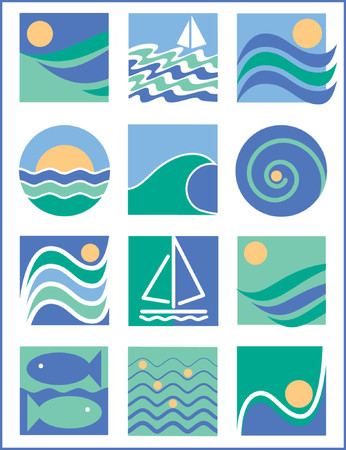 A collection of 12 logos with a water-sailing theme, useful for logos, icons or backgrounds. Illustration