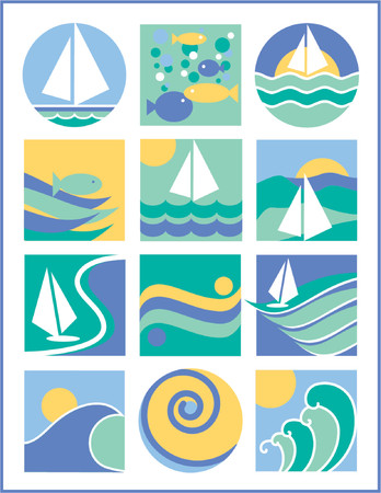 Another collection of 12 logos with a water-sailing theme, useful for logos, icons or backgrounds. Vettoriali