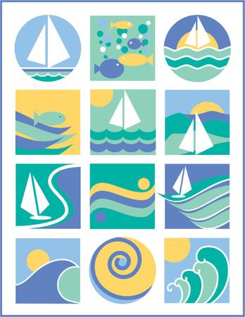 logo poisson: Une autre collection de 12 des logos avec une eau-voile th�me, utile pour les logos, ic�nes ou fonds.  Illustration