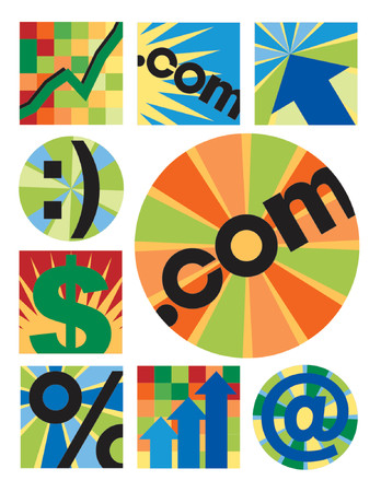 Another collection of 12 internet-business images, centered around .com, useful for logos, icons or backgrounds.