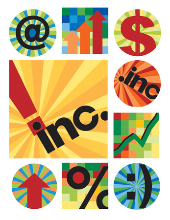 Another collection of 12 internet-business images, centered around inc., useful for logos, icons or backgrounds.