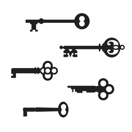 The first collection of five antique skeleton key silhouettes on a white background. The real keys were scanned and re-drawn in Illustrator. Vector