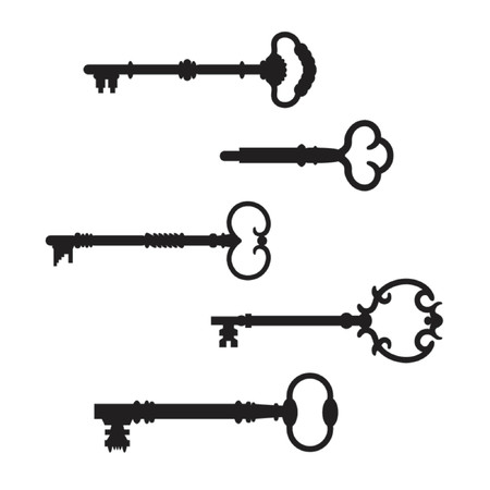The second collection of five antique skeleton key silhouettes on a white background. The real keys were scanned and re-drawn in Illustrator. Vettoriali