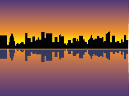 A silhouette of Manhanttan at sunset as seen from the East River.