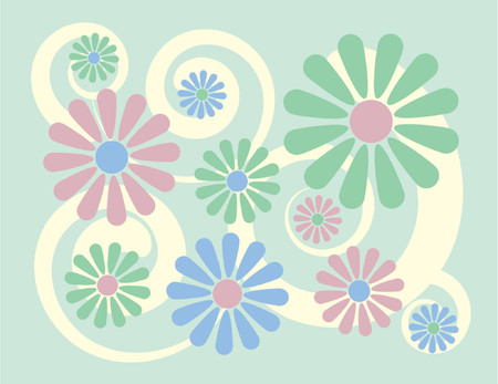 Simple, stylized illustration of flowers on a mint green background, reminiscent of 1960s-70s pop art. Vector