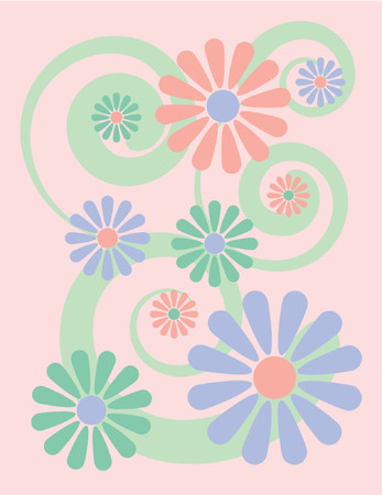 Simple, stylized illustration of flowers on a pink background, reminiscent of 1960s-70s pop art. Vector