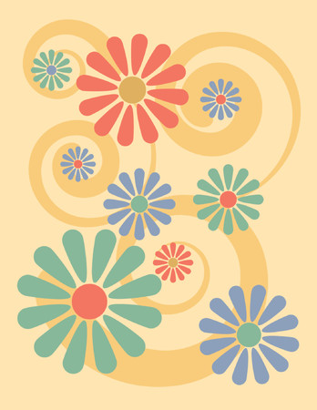 florist: Simple, stylized illustration of flowers on a yellow background, reminiscent of 1960s-70s pop art.