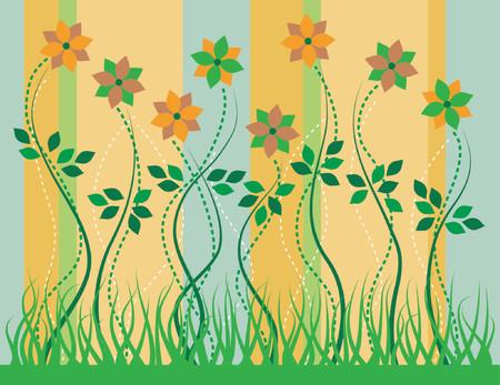 grassy: Stylized flowers growing in a grassy garden.