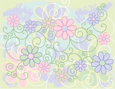 flowery: Estilizadas flores y espirales en un pastel de fondo.