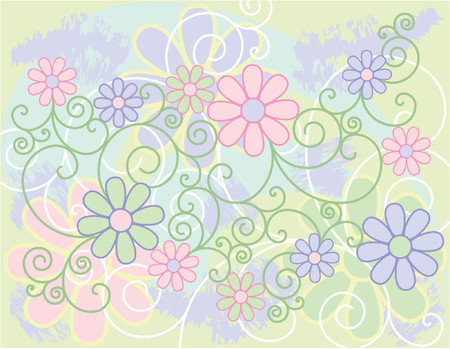 Stylized flowers and spirals on a pastel background.