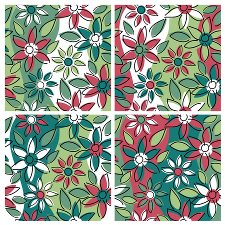 A seamless, repeating free-form floral pattern in four holiday colorways. Vector