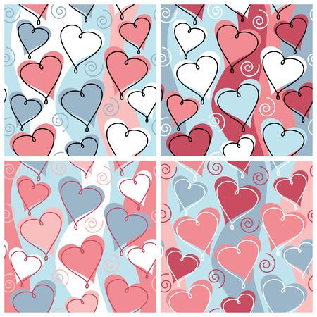 매끄럽고 반복적 인 마음과 4 개의 결혼식  기념일 축하 colorways에서 나선 패턴. 일러스트