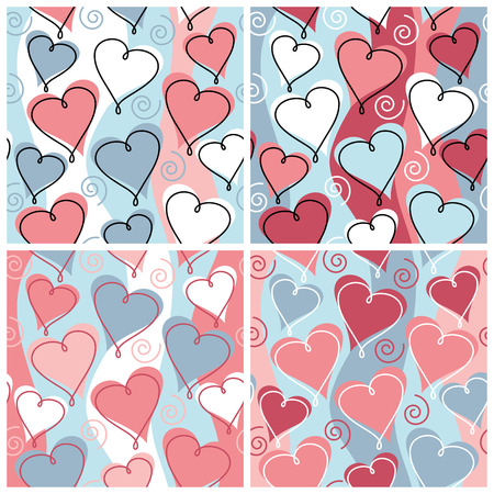 A seamless, repeating hearts and spirals pattern in four weddinganniversary celebration colorways.