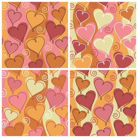 A seamless, repeating hearts and spirals pattern in four party celebration colorways.
