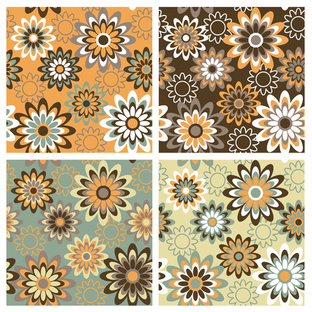 textiles: A seamless, repeating retro floral pattern in four Fall fashion colorways. Illustration