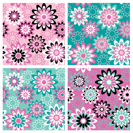 A seamless, repeating retro floral pattern in four Summer fashion colorways.