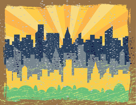 A vector illustration of a grunged generic city skyline at sunrise. Vector