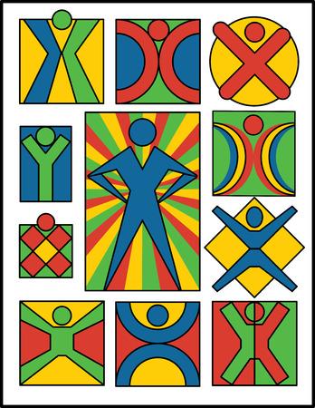 Collectie # 2 van 11 symbolische afbeeldingen van mensen, bruikbaar voor logo's of pictogrammen.
