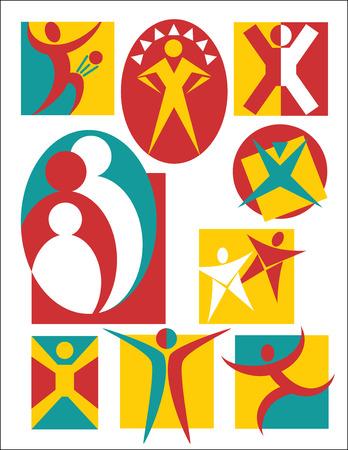 컬렉션 # 3 사람들, 로고 또는 아이콘에 대 한 유용한의 상징적 인 삽화의 # 3.