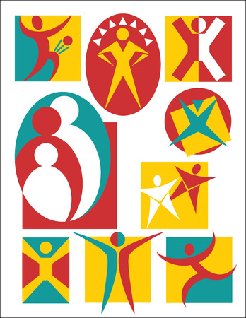 curare teneramente: Raccolta # 3 del 9 simbolico illustrazioni di persone, utile per i loghi o le icone.