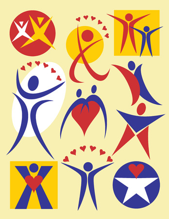 Collection #4 of 10 symbolic illustrations of people, useful for logos or icons. Stock Vector - 1527489