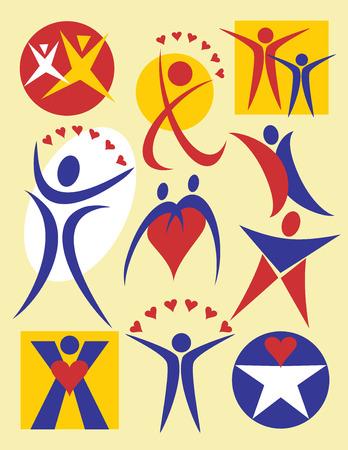 curare teneramente: Collezione # 4 di 10 illustrazioni simbolico di persone, utile per i loghi o le icone.  Vettoriali