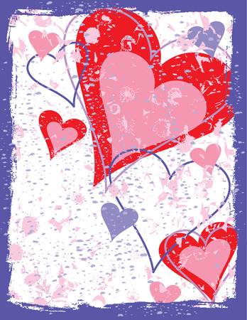 An illustration of hearts with a grunge frame and background.