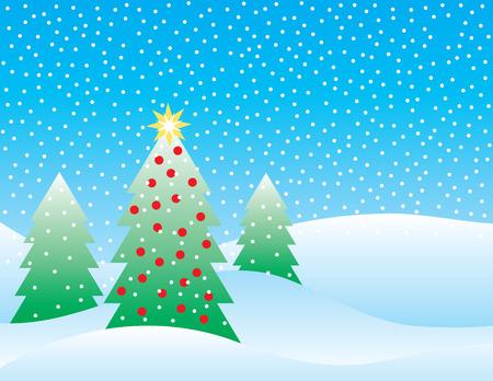 雪の降る背景上の 3 つのクリスマス ツリーの様式化された図。