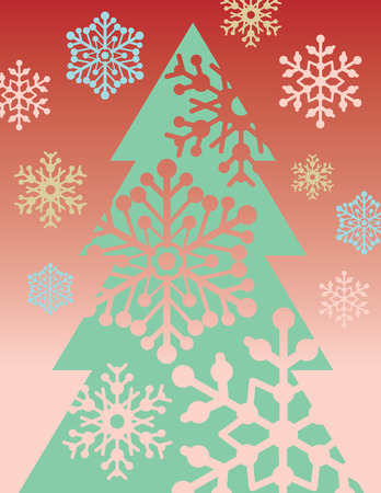 A stylized illustration of a Christmas tree with cutout snowflakes. Vector