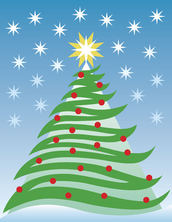 A stylized illustration of a free-form Christmas tree.