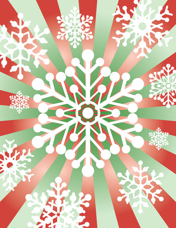 A vector illustration of snowflakes on a burst background.