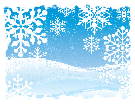 A grunged snowflake background. Vector